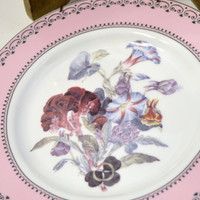 Two Andrea by Sadek Plates Winterthur Pink Flowers Luncheon Decorative Plate PanchosPorch