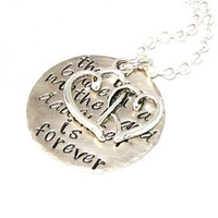 "MOTHERS DAY NECKLACE -Hand stamped ""The Love Between a Mother and Daughter is Forever"", With Keychain option"