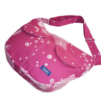 Fuschia pink white pattern bike messenger bag