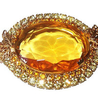 Yellow Art Glass Brooch Juliana? Jonquil Rhinestones Gold Metal Leaf Accents BIG Statement Vintage