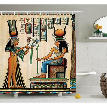 Egyptian Decor Shower Curtain, Old Egyptian Papyrus Depicting Queen Nefertari with Historical Empire Artwork