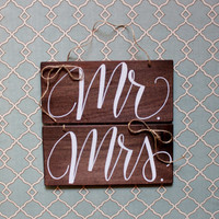 Mr. and Mrs. Adjustable Rustic Wood Chair Signs
