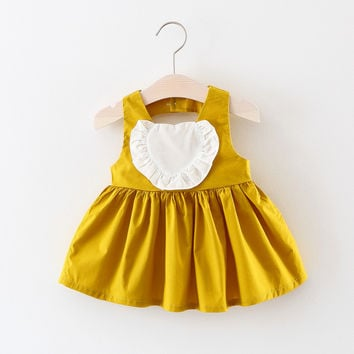 New Summer  Baby Girl Cotton Dresses Sleeveless  Baby Kids Clothing Free Shipping