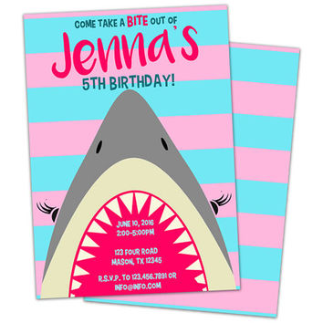 Girl Shark Birthday Invitation - Pink Shark Party Invitations - Girl Birthday Shark Invite - Girl Pool Party - Cute Pink Girl Shark Party