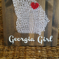 Custom Order HOME State Nail and String Art Sign, Home State and City Wall Decor, Hometown Wall Hanging, Unique One of a Kind Gift