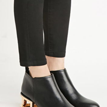 Cutout-Heel Faux Leather Booties