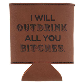St. Patricks Day Outdrink All You Leatherette Can Cooler