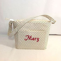 Purse, Tote Bag Fabric Handmade Tote Custom Embroidered with Monogram Brown Polka Dots  Zippered bag