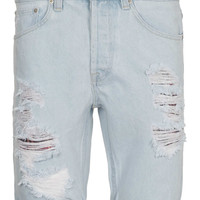 Ice Wash Denim Ripped Shorts - Shorts - New In - TOPMAN USA