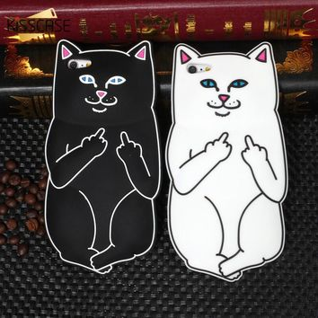 KISSCASE 3D Cute Cartoon Ripndipp Cat Silicone Case For iPhone SE 5 6 6s Plus Lovely Animals Pocket Kitten Cover For iPhone 5 5s