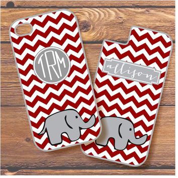 Personalized Phone Cover / Case for iPhone, Samsung, & HTC (Alabama Elephant Chevron)