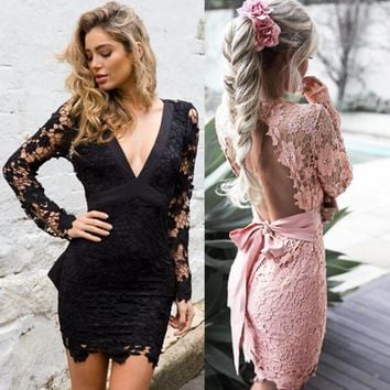 Sexy Deep V Backless Slim Lace Dress Long Sleeve Evening Dress