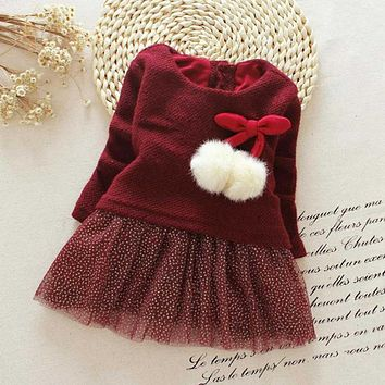 2016 Autumn Long Sleeved Round Collar Kids Baby Bebe Girls Bow Ball Sequined Dresses Princess Tutu Birthday Party Dress MT1001