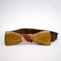 Bow Ties For Man. Wooden Eco Friendly Mans Accessories. Bowties With Pink Striped Fabric Unique Design By Three Snails Free Shipping!