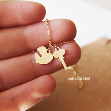 Unlock My Heart Necklace, Gold Plated Charm Necklace,Hipster Necklace, Necklaces, Gold Plated Necklace, Bar Necklace, Gift Ideas, Holiday
