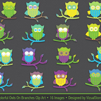 Cute Owl Clip Art, colorful owls on branches, bright colored polkadot owls clipart, digital owls forrest collage sheet, Buy 2 Get 1 Free