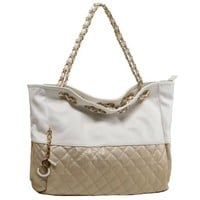 MG Collection CAMRYN Gold Quilted Oversized Hobo Handbag w/ Shoulder Chains