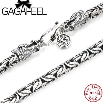 GAGAFEEL Vintage 925 Sterling Silver Chain Man Necklace Dragon Head Thai Silver Necklace for Men Jewelry Punk Style High Quality