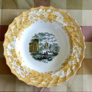 INSTANT WALL DISPLAY Set of 3 Mix n Match Vintage English Toile Yellow Transferware Spode Plates