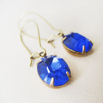 Vintage Rhinestone Earrings // Sapphire Blue Stones, Estate Style, Drop Earrings, Wedding Accessories, Bridesmaids Jewellery
