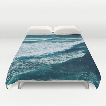 Duvet Cover, Ocean Sea Beach Waves Bedding Cover, Coastal Surf Decorative Nautical Bedroom Decor, Home Decor, King, Queen, Full