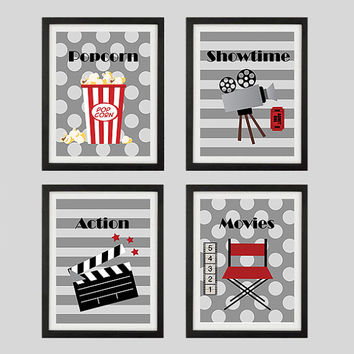 Popcorn Showtime Action Movies Home Theater Art Prints CUSTOMIZE YOUR COLORS, 8x10 or 11x14 Prints, Movies, Home Theater Wall Decor Wall Art