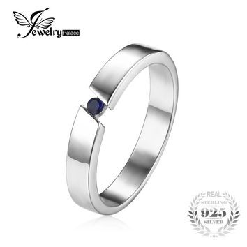 JewelryPalace Classic 0.04ct Created Blue Sapphire Wedding Bands Rings Genuine 925 Sterling Silver Fine Jewelry Gift For Lovers