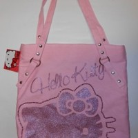 Hello Kitty Kitty Rocks Pink Glitter Tote Bag