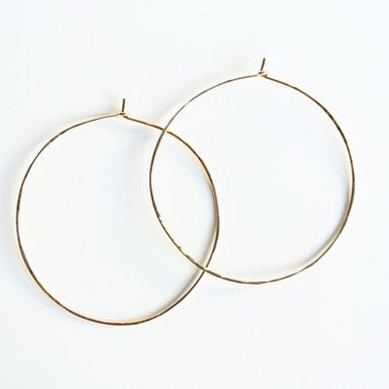 "Textured Hammered Gold Hoop Earrings - 14kt Gold Filled  - 2 1/4"" Wide"
