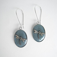 Dragonfly grey earrings. Nature bohemian hippie insect animal nouveaux dangle long drop surgical steel greek jewelry custom color