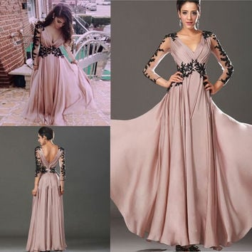 Hot Long Sleeve Lace Chiffon Bridesmaid Formal Gown Party Cocktail Evening Dress