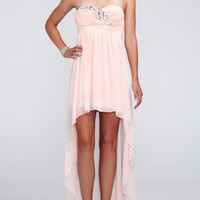 Strapless Chiffon High Low Dress with Beading - David's Bridal- mobile