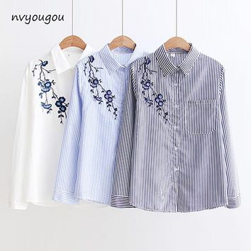 Floral Embroidery White Long Sleeve Women Blouses Blue Striped Shirt Cotton Casual Women Tops blusas mujer de moda