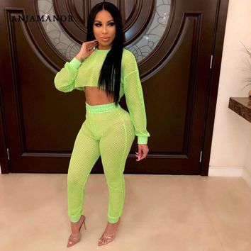 ANJAMANOR Neon Green Fishnet Mesh Two Peice Set for Women Crop Top and Pants Suit Sexy Women Clothing Matching Sets D29-AD98