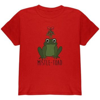 LMFCY8 Christmas Mistletoe Toad Funny Pun Youth T Shirt