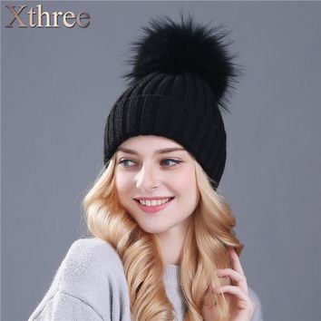 LMF9GW xthree real mink fur colour pom poms winter hat for women girl 's hat knitted beanies cap thick female cap