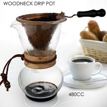 NEW ARRIVAL FREE SHIPPING  Woodneck Coffee Drip Pot 480CC 3-4cups Ice Drip Maker