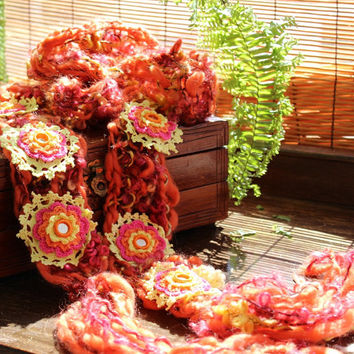 Vibrant orange skinny Scarf - Bohemian fashion shabby Gypsy mirrors - lariat scarf Hand knitted and embellished crochet flowers