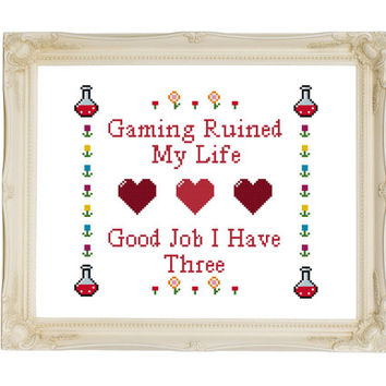 Gaming Ruined My Life Retro - 3 Lives - Counted Cross Stitch Pattern - Instant Download