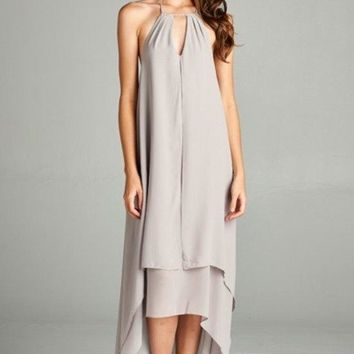 Leah Layered Grey Halter Maxi Dress