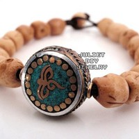 Skull bone beads buddha eye bracelet