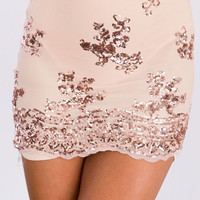 Scallop Trim Sequins Skinny Skirt