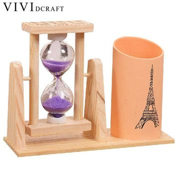 Vividcraft Creative Wood Pen Holder With Hourglass
