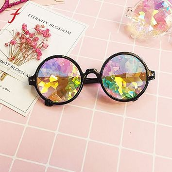 Kaleidoscope Sunglasses Real Women Adult Glasses Rave Festival Party Edm Sunglasses Diffracted Lens 2018 Vintage Round Mosaic