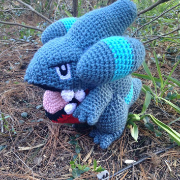 Pokemon Inspired: Gible Amigurumi (Crochet Plushie/Plush Toy)! MADE TO ORDER!