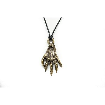 Skeleton Hand Unisex Necklace with Black Cord