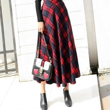 Clobee Ethnic Plaid Long Women Skirt Elegant A-Line Autumn Winter Faldas Mujer Party Umbrella Plaid Skirt Long Wool jupe d1