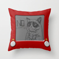 Etch a Grump Throw Pillow by discojellyfish