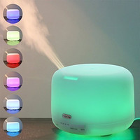 Noza Tec 500ml Aroma Essential Oil Diffuser Ultrasonic Air Humidifier with 4 Timer Settings 7 LED Color Changing Lamps