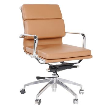 Eames Style Executive Leather Office Chair, Brown